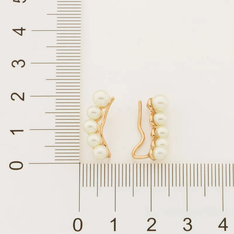 Brinco Rommanel ear cuff com pérolas sintéticas 526525 folheado a ouro