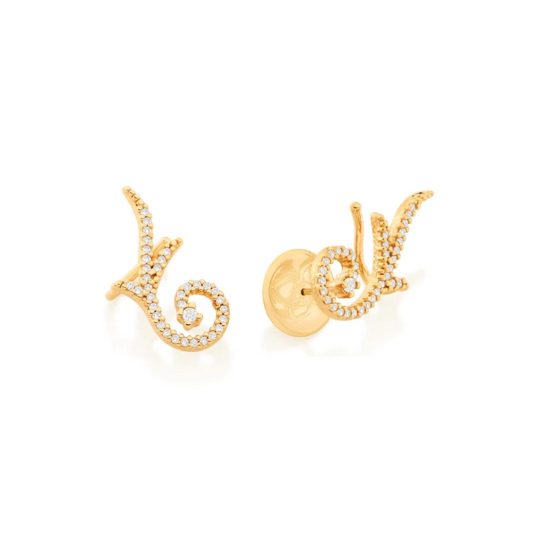 Brinco Rommanel ear cuff folheado a ouro com zircônias 526528