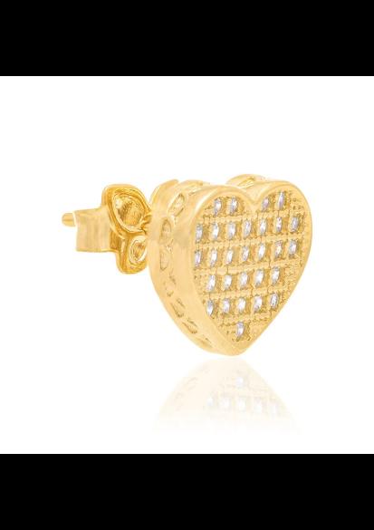 Brinco rommanel folheado a ouro 525446  coração com zircônias