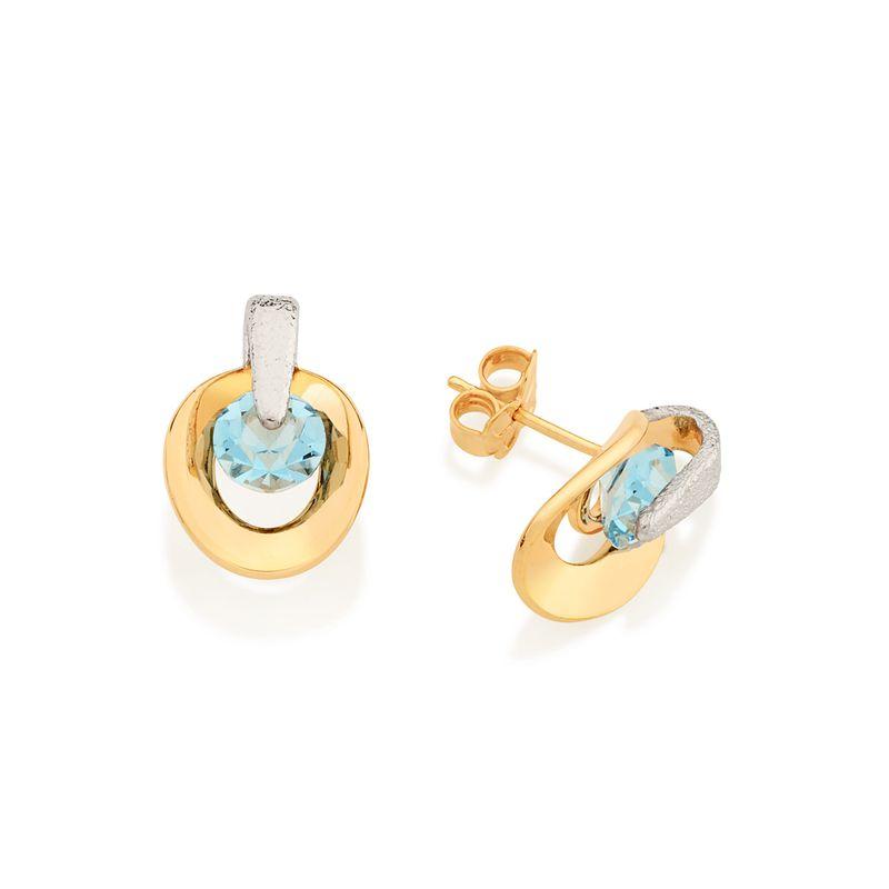 Brinco Rommanel folheado ouro e rhodium cristais 52227803