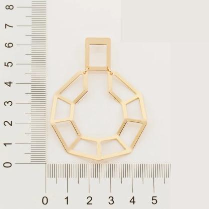 Brinco Rommanel Geométrico folheado a ouro 526550