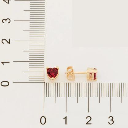 Brinco Rommanel solitário coração folheado a ouro 526551