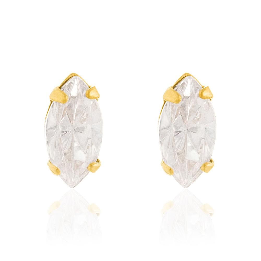 Brinco solitário folheado a ouro com cristais rommanel 524855