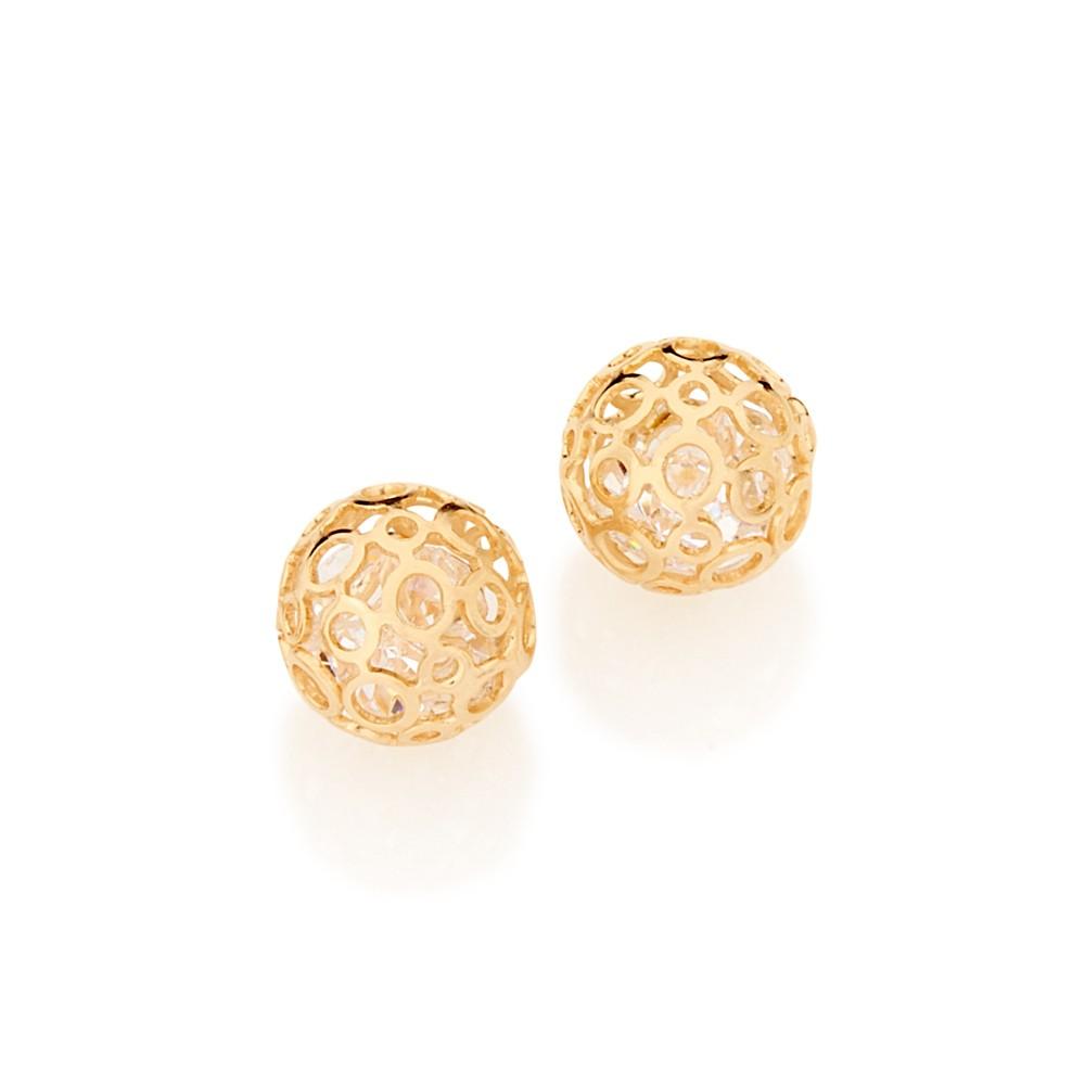 Brinco solitário folheado a ouro com cristais rommanel 525137