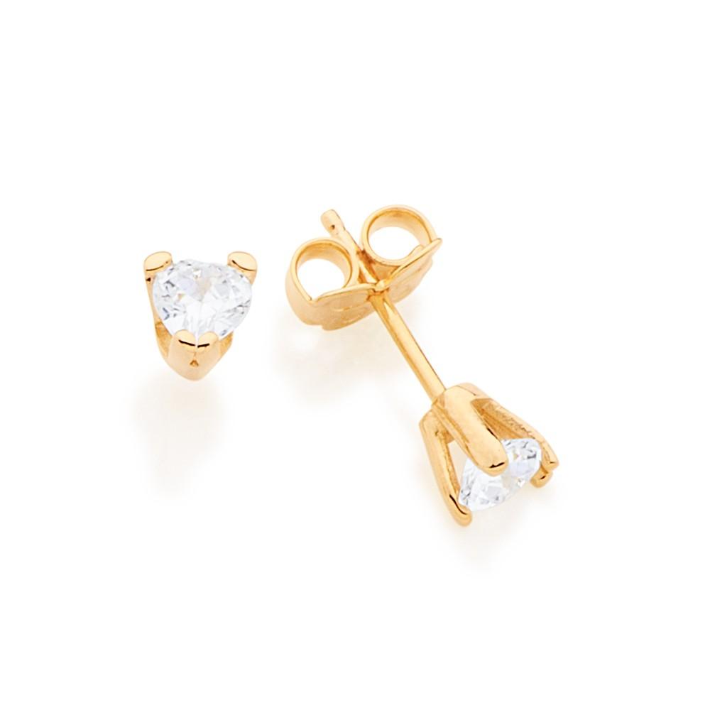 Brinco solitário folheado a ouro coração com zircônia Rommanel 526003