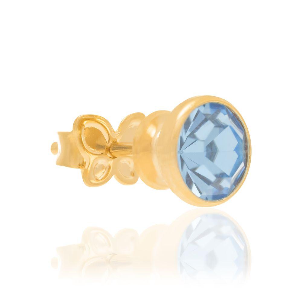 Brinco Solitário Rommanel Cristal Azul 52518103