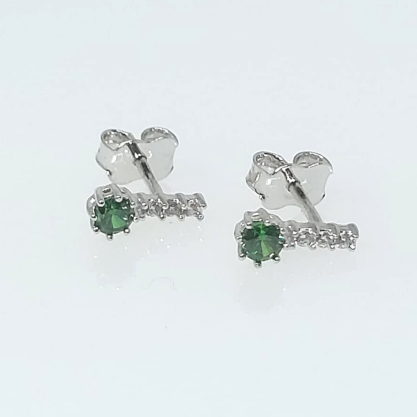 Brinco Zircônia Verde Esmeralda GC Folheado a Rhodium 0652092000013