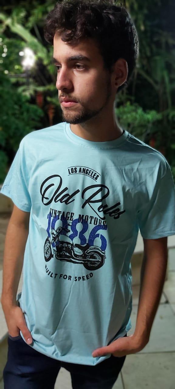 Camiseta Masculina Azul Claro Manga Curta  700105