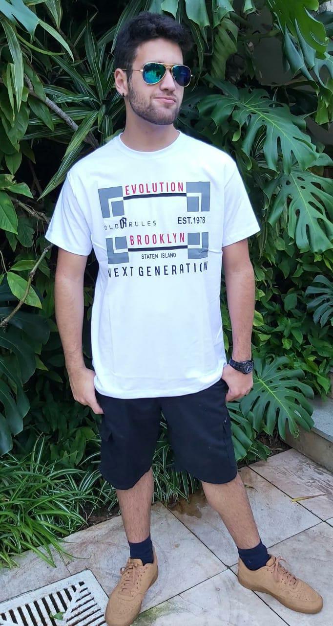 Camiseta Masculina Branco Preto  Manga Curta  700111