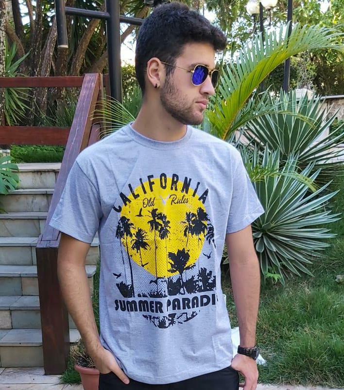 Camiseta Masculina Cinza Amarelo Manga Curta 700112
