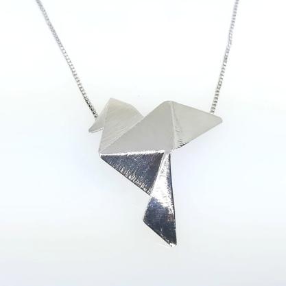 Colar GC com Pingente Origami Tsuru Folheado a Rhodium CR3946CORH