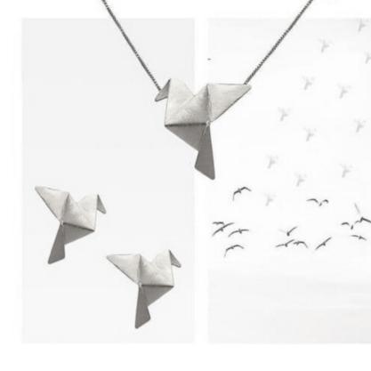 Gargantilha GC com Pingente Origami Tsuru Folheado a Rhodium CR394611CLRH