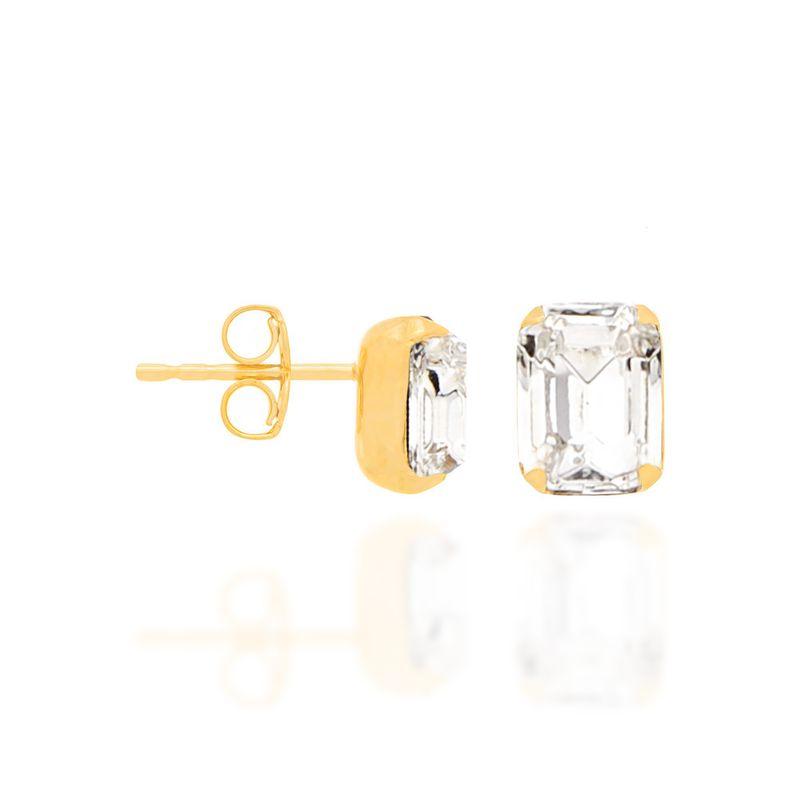 Brinco Rommanel cristal quadrado 52057706
