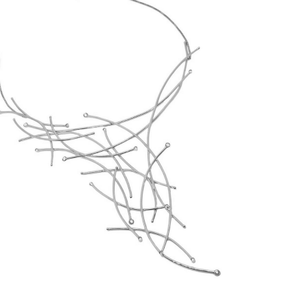 Colar GC com Pingente Feixes de Luz com Zircônias Folheado a Rhodium CR3875CORH
