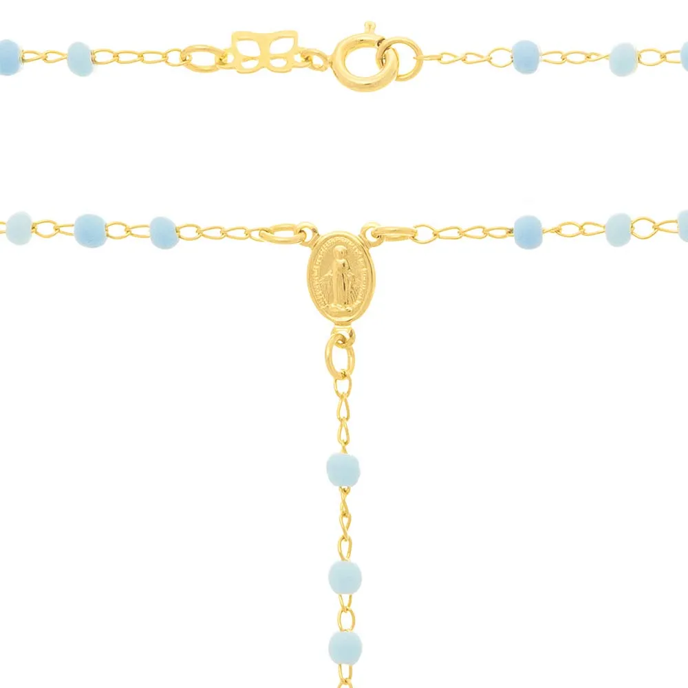Cordão feminino rommanel terço 531616 azul med. 50 cm