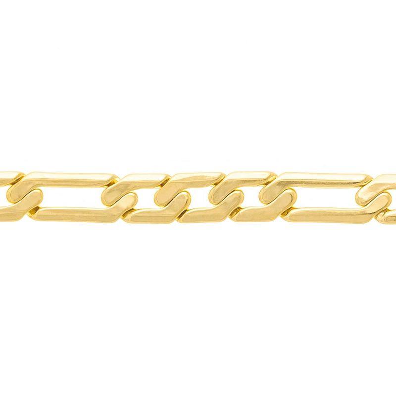 Cordão Rommanel 531345 diamantado elos alternados folheado a ouro 60cm