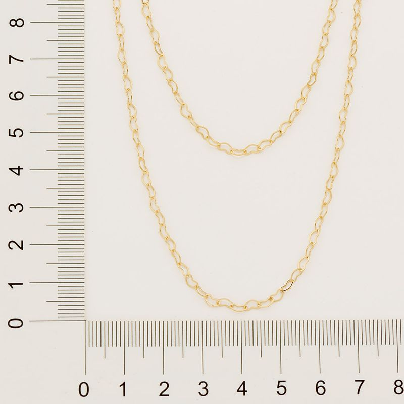 Gargantilha dupla folheada a ouro formada por corações rommanel  531131med. 45 cm