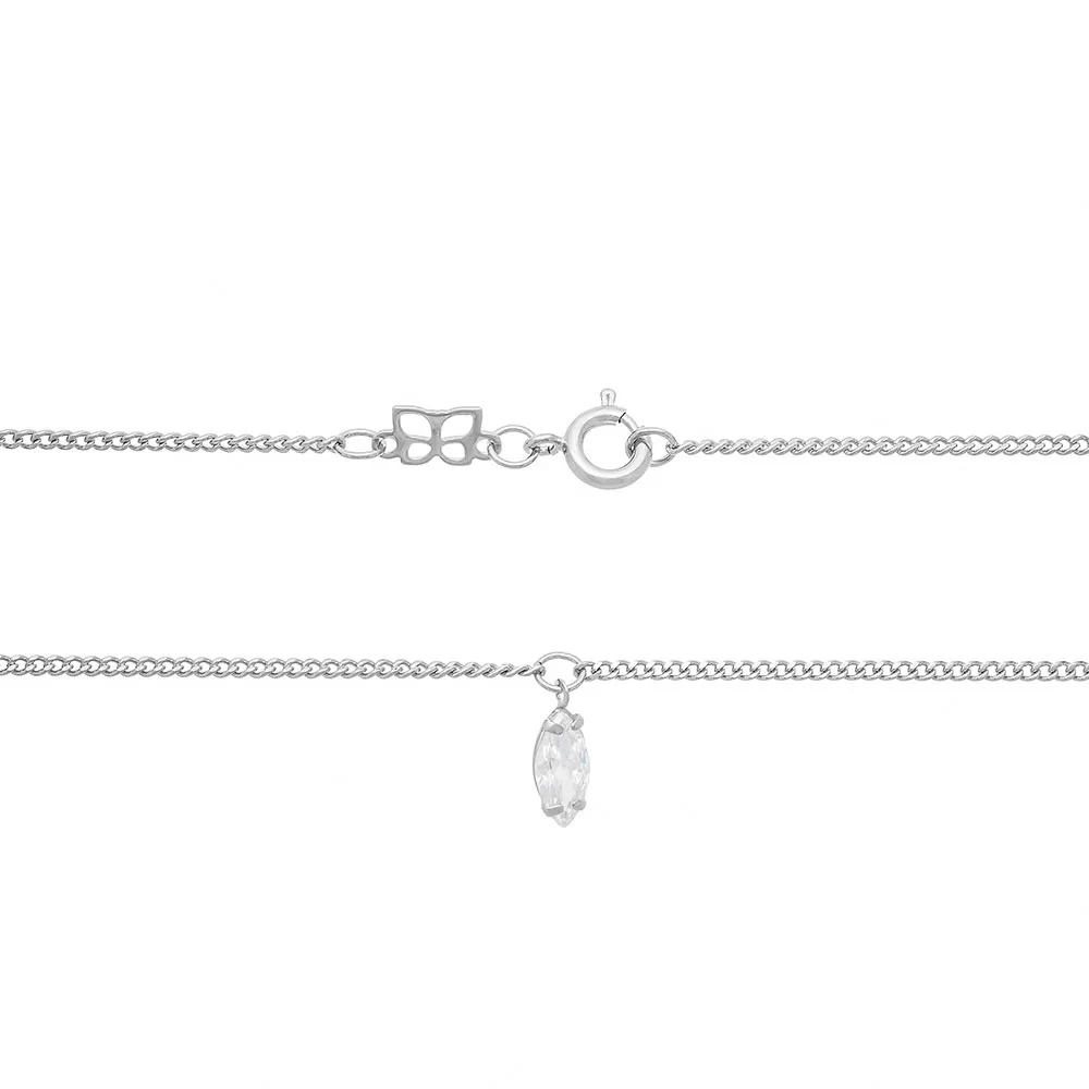 Gargantilha feminina rommanel 130432 rhodium com zircônia navete gio antonelli med. 60 cm