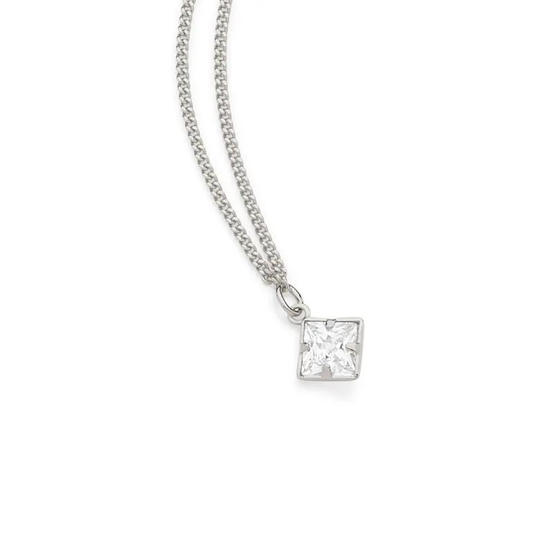 Gargantilha feminina rommanel 130435 rhodium com cristal quadrado med. 50 cm