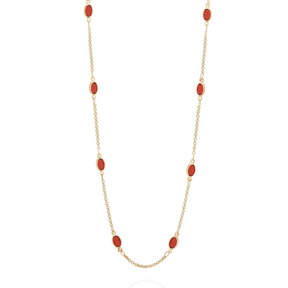 Gargantilha Rommanel 531969 cristais vermelhos med. 70 cm