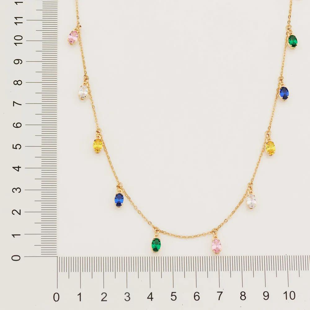 Gargantilha feminina rommanel 532082 com zircônias ovais med.45 cm