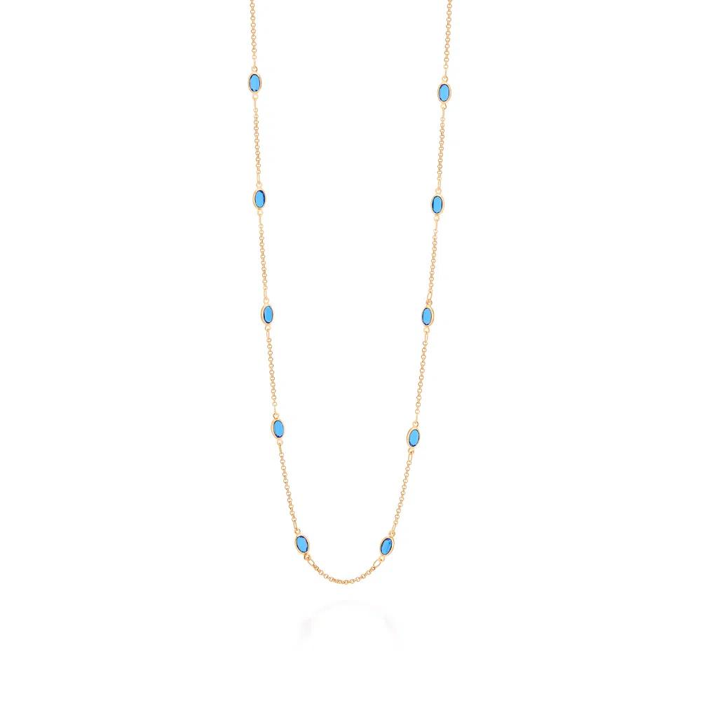 Gargantilha Rommanel folheada a ouro com cristais 532059  tam.70