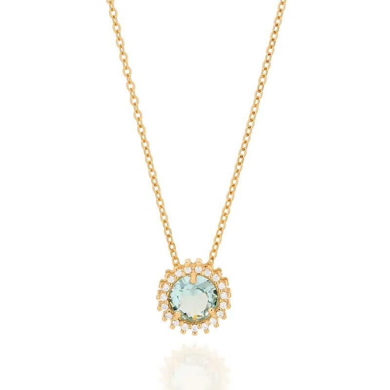 Gargantilha folheada a ouro com zircônias e cristal Rommanel  532072AZ  tam.50 cm