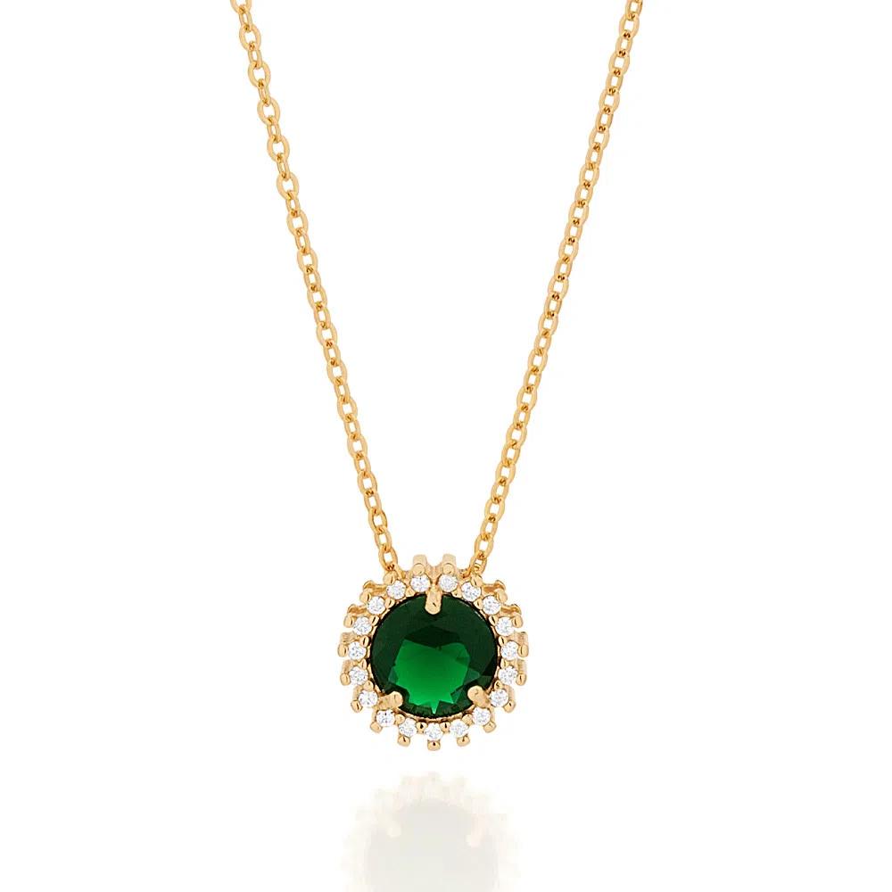 Gargantilha Rommanel folheada a ouro com zircônias e cristal  532072  tam.50 cm