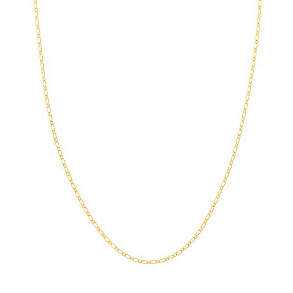 Gargantilha folheada a ouro elo alternado e lixado rommanel 530146 med. 42 cm