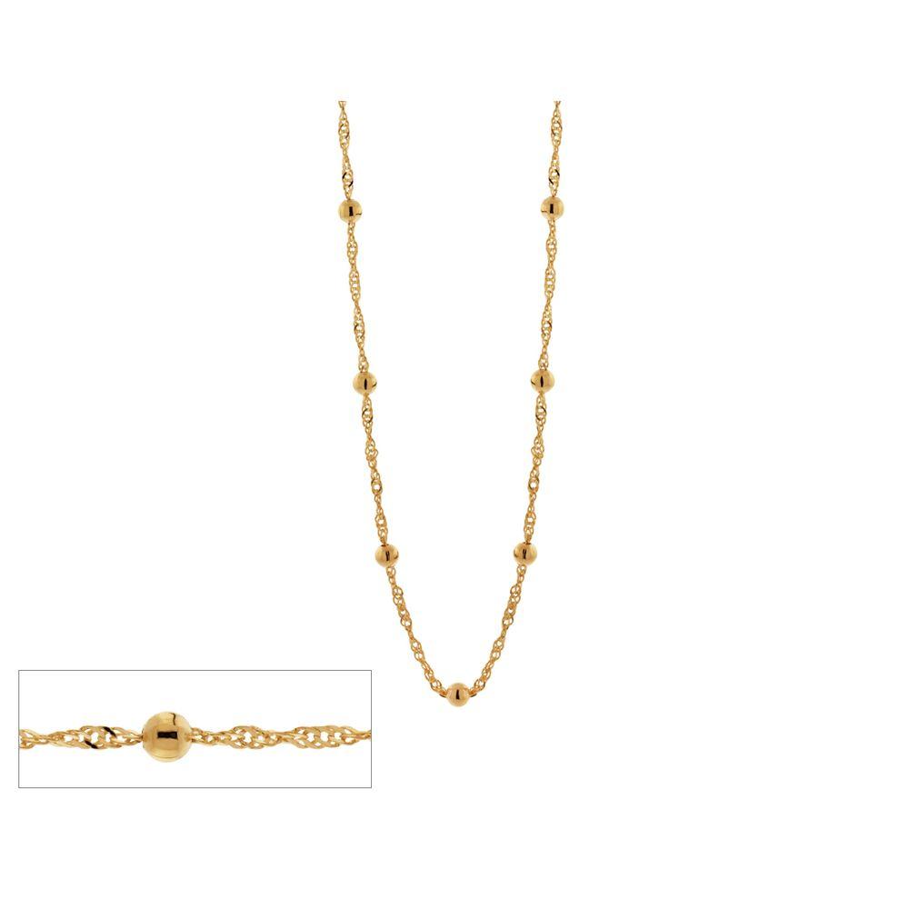 Gargantilha folheada a ouro fio cingapura com bolas rommanel  531657 med. 50 cm