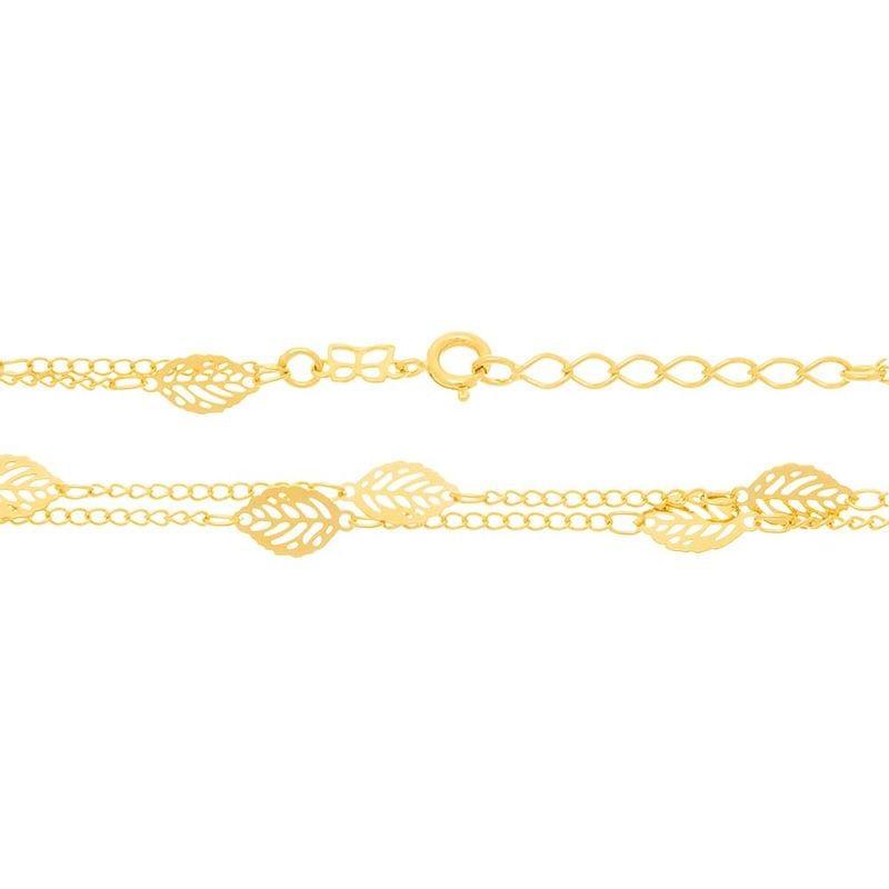Gargantilha folheada a ouro formada por folhas  531123 med. 45 cm