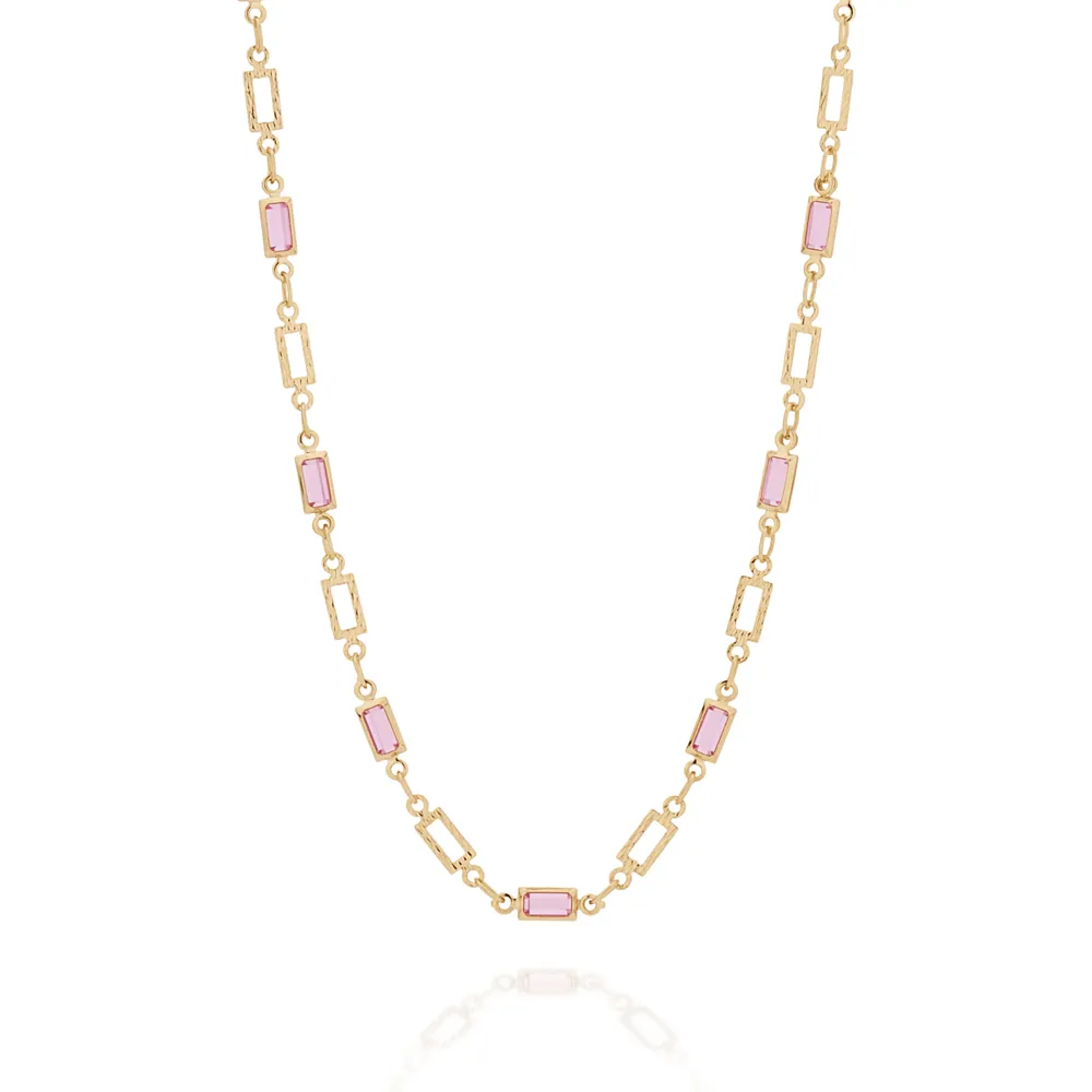 Gargantilha rommanel infantil 531972 cristal rosa e branco med. 36 cm