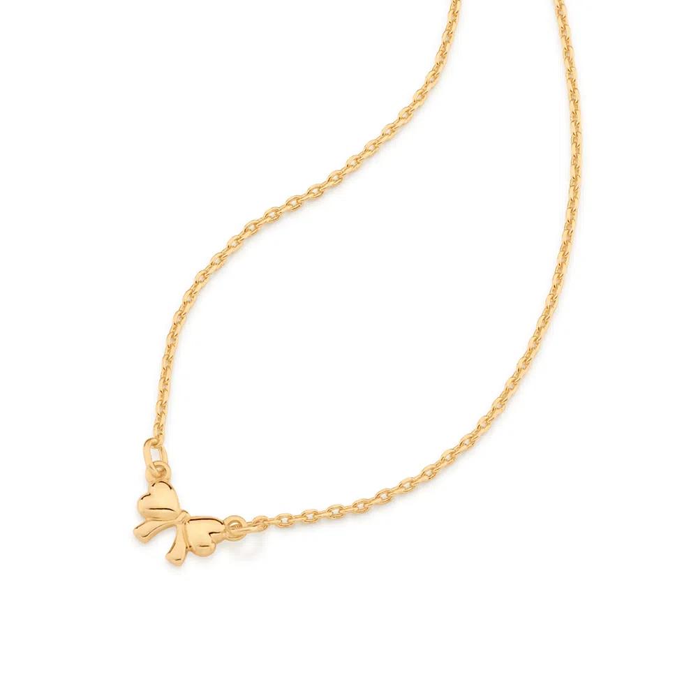 Gargantilha Rommanel laço folheada a ouro 532066  tam.42 cm