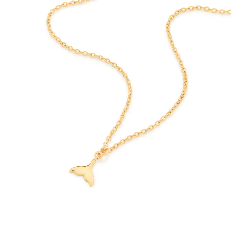Gargantilha Rommanel rabo de sereia folheada a ouro 532064  tam.45 cm