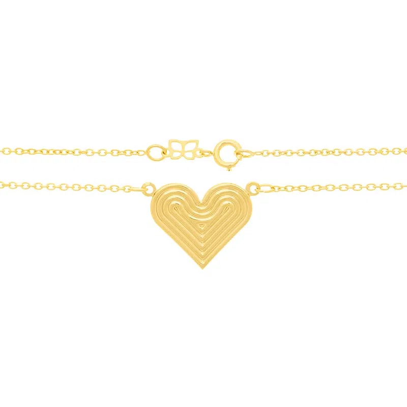 Gargantilha Rommanel 531786 folheada a ouro com coração trabalhado