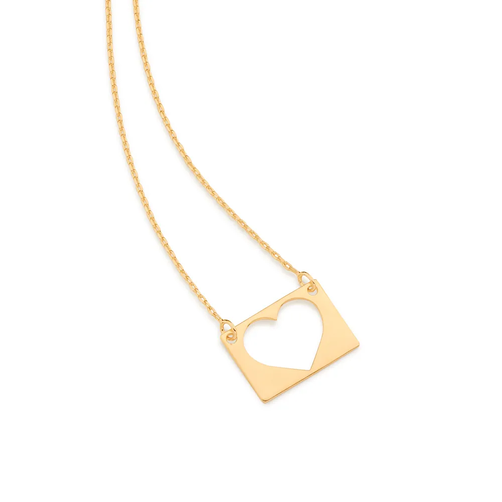 Gargantilha Rommanel 532056 com coração vazado folheada a ouro