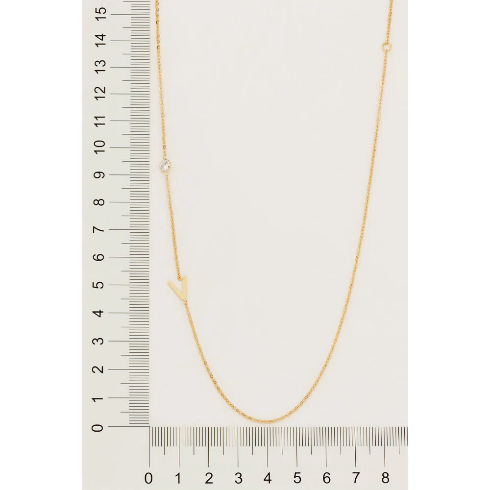Gargantilha Rommanel 532108 Letra V e Zircônia folheada a ouro
