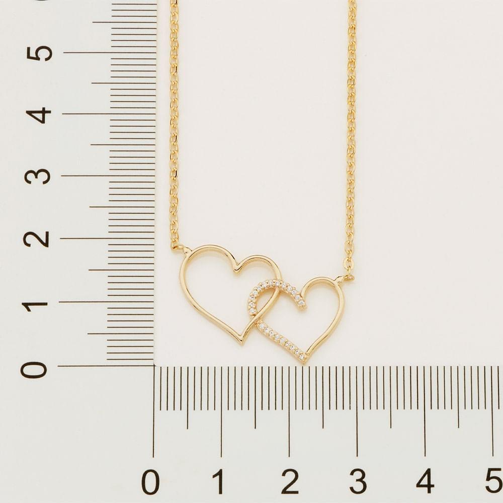 Gargantilha Rommanel 532113 Corações Entrelaçados folheada a ouro