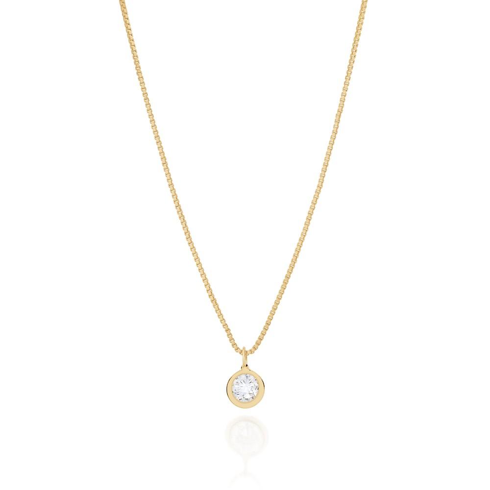 Gargantilha Rommanel com pingente solitário folheada a ouro 532005 40 cm