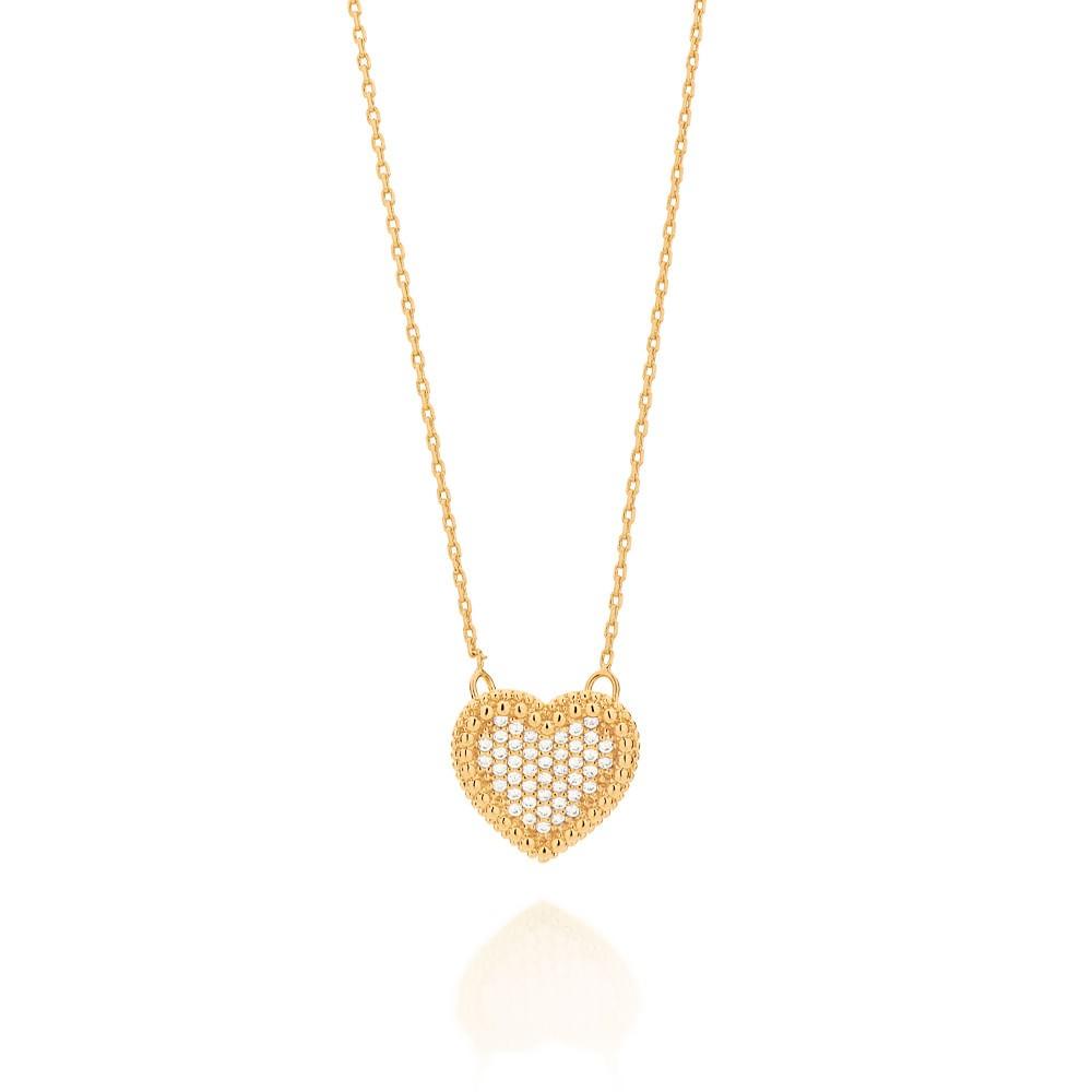 Gargantilha Rommanel Coração com zircônias folheada ouro 531484