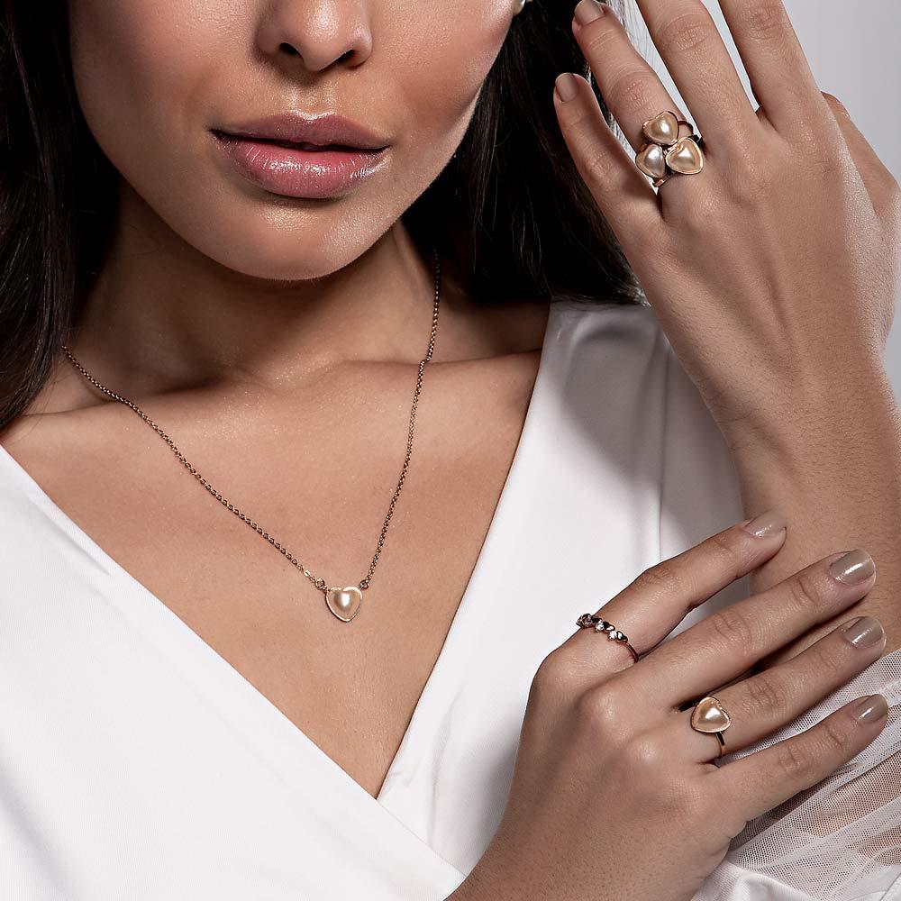 Gargantilha Rommanel coração folheada a ouro com pérola  532018 50 cm