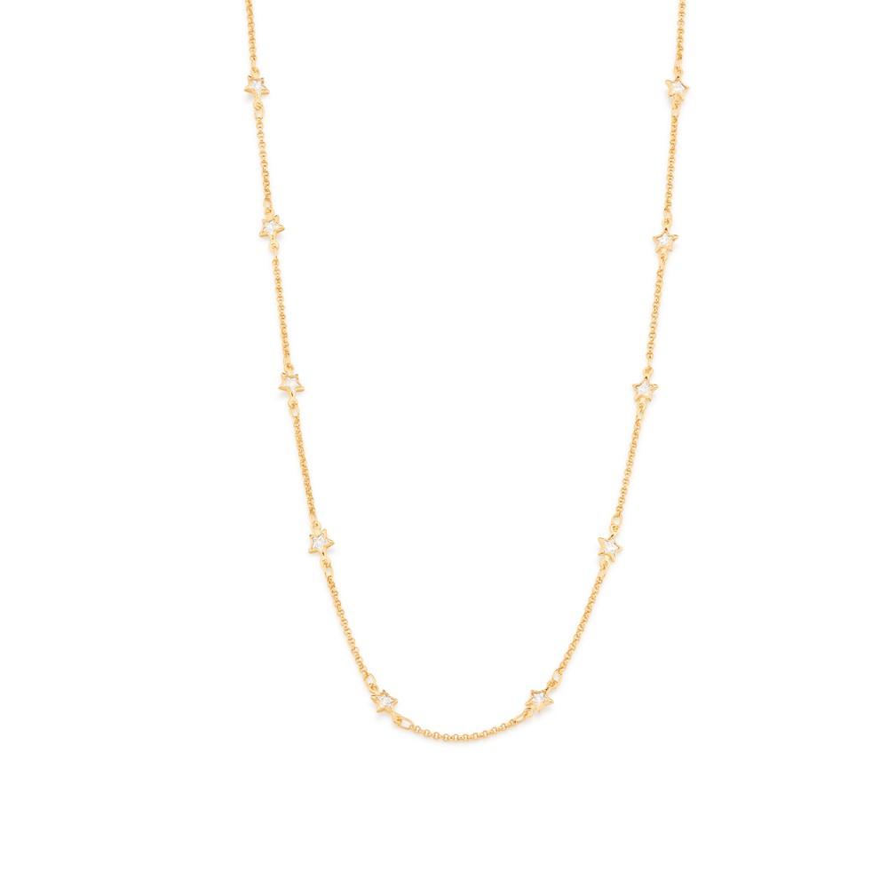 Gargantilha Rommanel Estrela folheada a ouro com zircônias 532052 50 cm