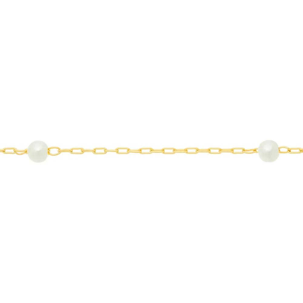Gargantilha Rommanel Folheada a ouro com Pérolas  530919 tam. 42cm