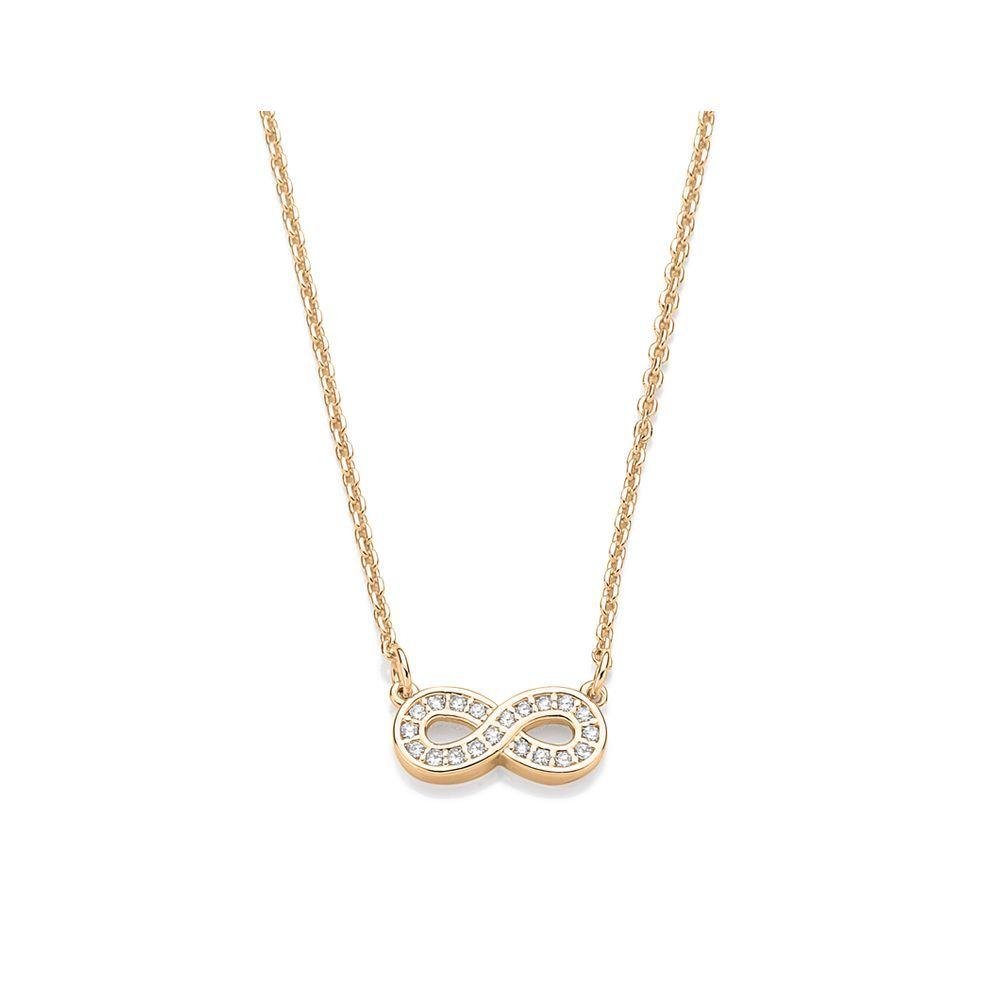 Gargantilha Rommanel folheada a ouro com símbolo do infinito 531228
