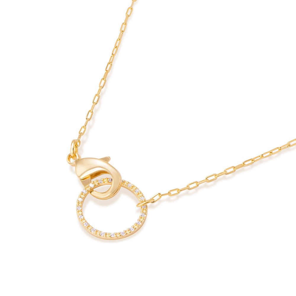 Gargantilha Rommanel folheada a ouro com zircônias 532107 42 cm