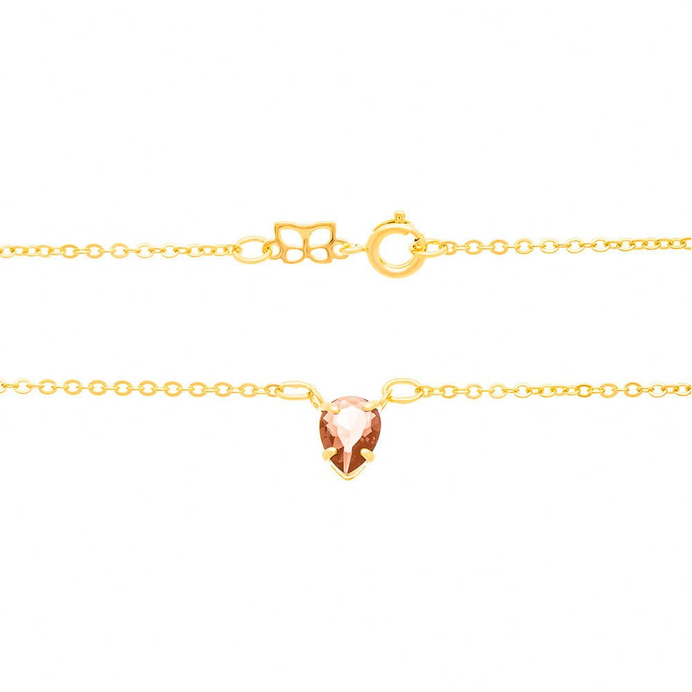 Gargantilha Rommanel folheada a ouro fio elo cadeado com pingente gota 531864 med. 50 cm