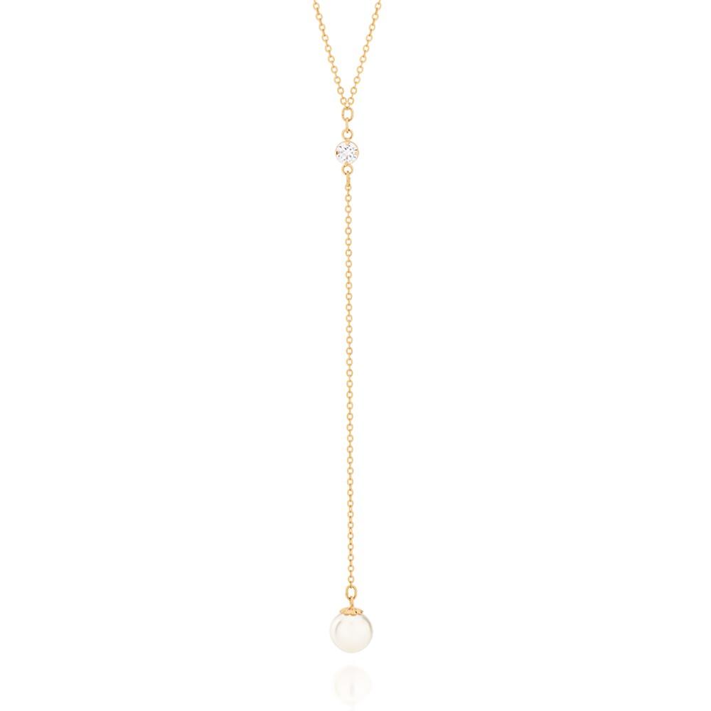 Gargantilha Rommanel gravata folheada a ouro com zircônia e pérola sintética 531872 med. 50 cm
