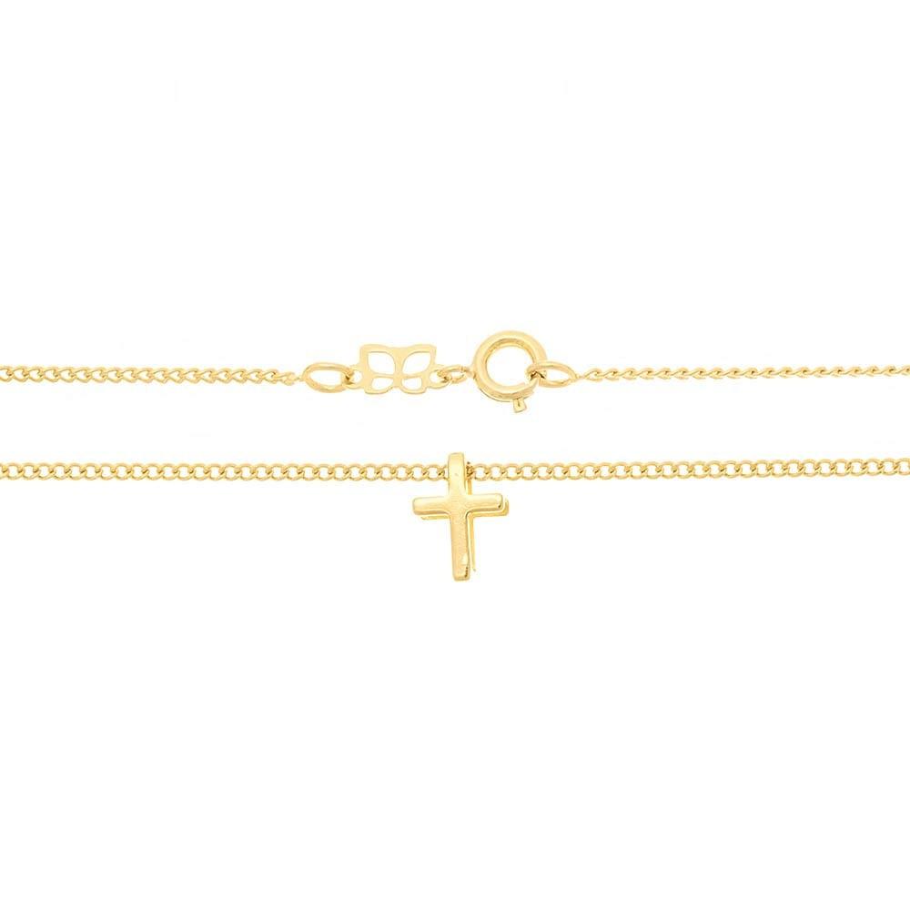 Gargantilha Rommanel Infantil folheada a ouro com cruz 531823 med. 40 cm