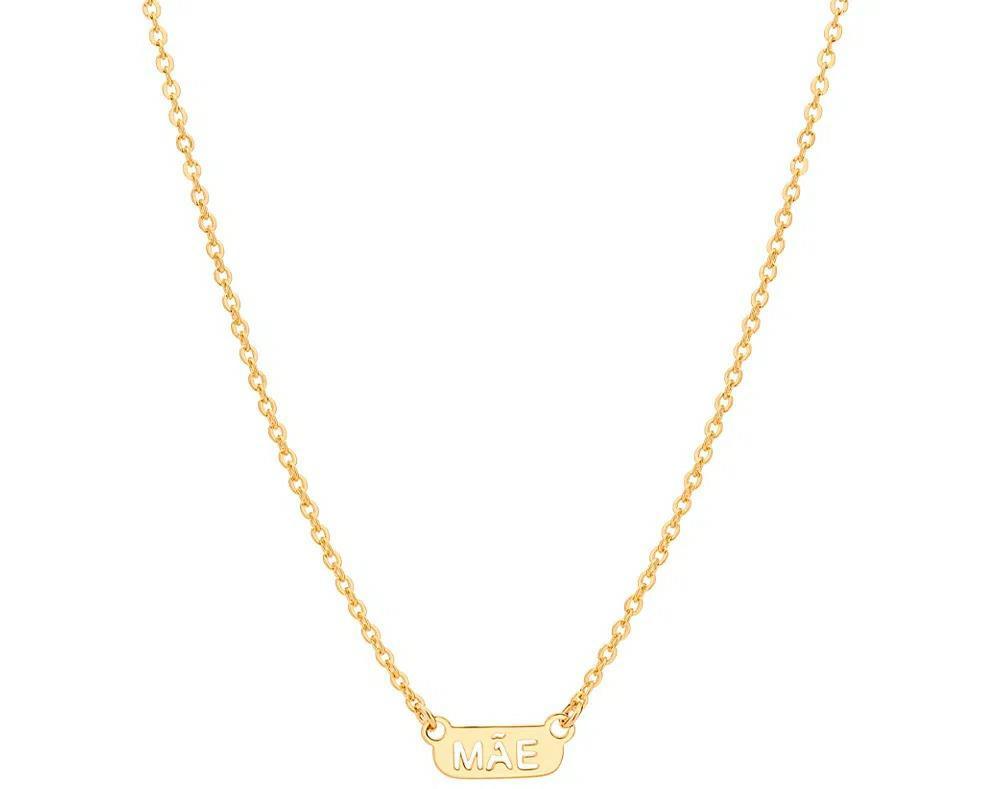 Gargantilha Rommanel Mãe 532131 folheada a ouro