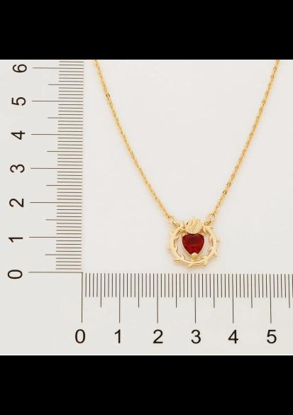 Gargantilha Rommanel Sagrado Coração de Jesus folheada a ouro 532065  tam.50 cm